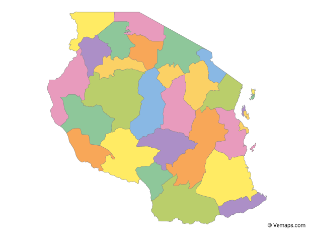 Multicolor Map of Tanzania with Regions