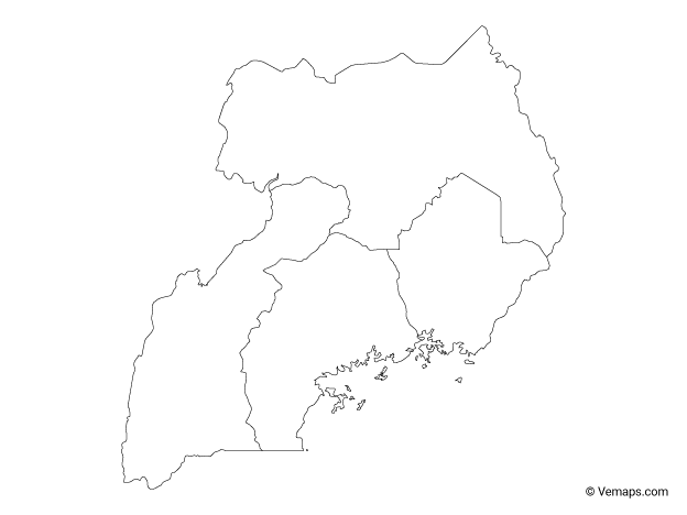 Outline Map of Uganda with Regions