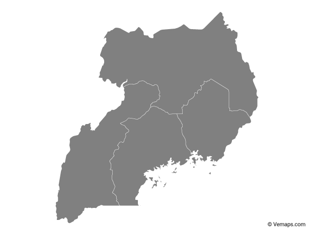 Grey Map of Uganda with Regions