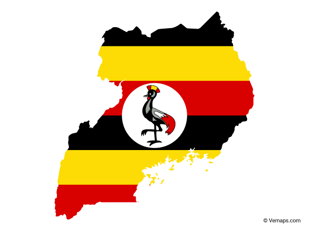 Flag Map of Uganda