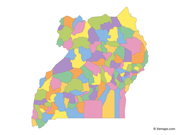 Multicolor Map of Uganda with Regions