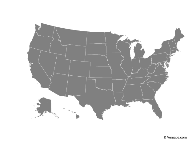 Grey Map of United States with States