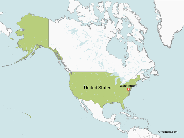 Map of the United States with Neighbouring Countries