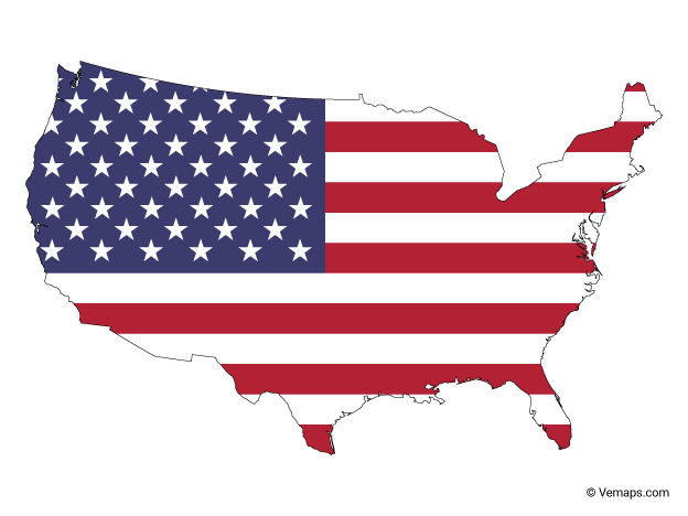 Flag Map of United States