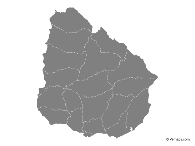 Grey Map of Uruguay with Departments