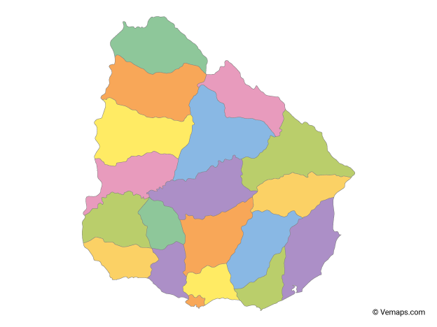 Multicolor Map of Uruguay with Departments
