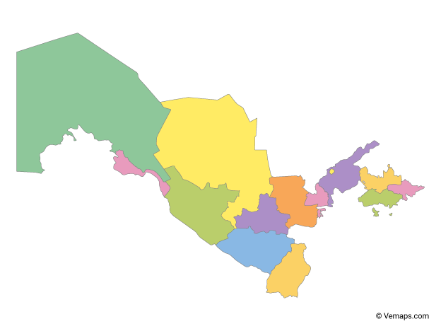 Multicolor Map of Uzbekistan with Regions