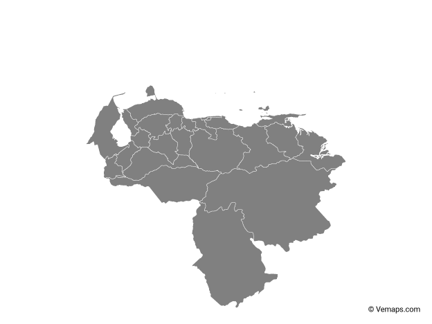 Grey Map of Venezuela with States