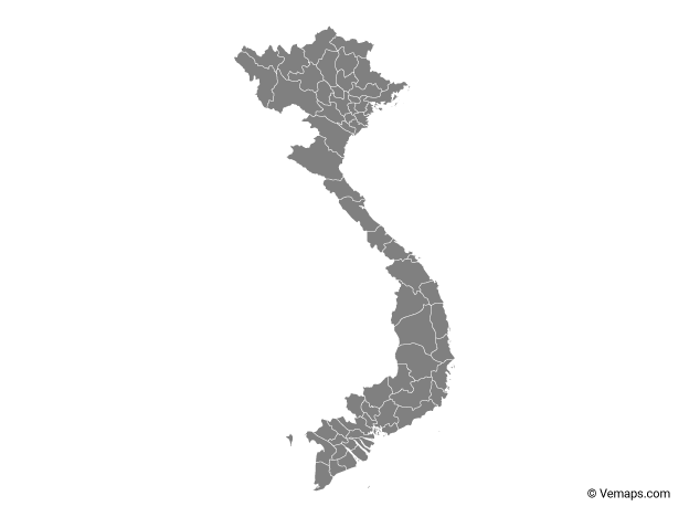 Grey Map of Vietnam with Provinces