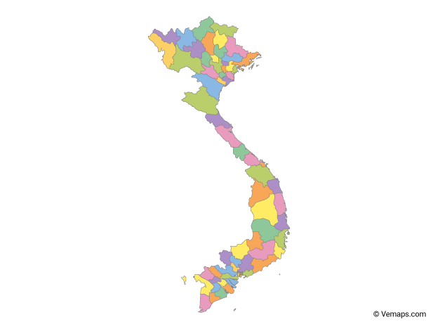 Multicolor Map of Vietnam with Provinces