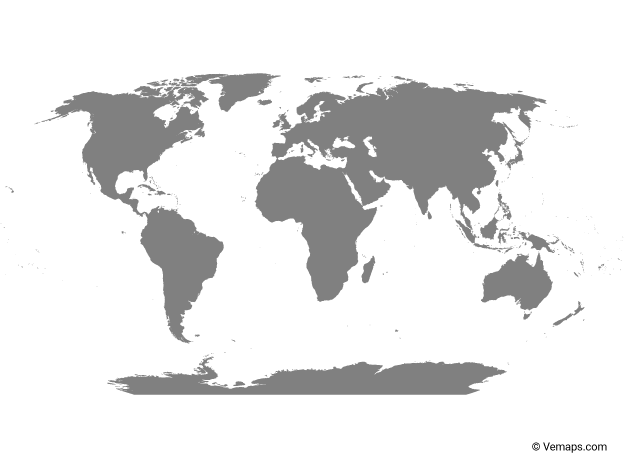 Grey Map of the World with Antarctica