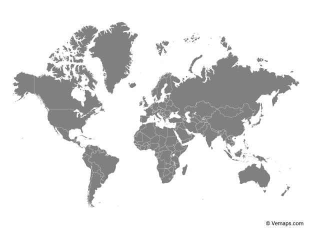 Grey Map of the World with Countries