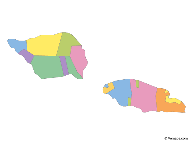 Multicolor Map of Samoa with Districts