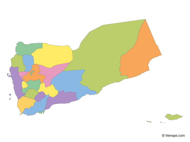 Multicolor Map of Yemen with Governorates