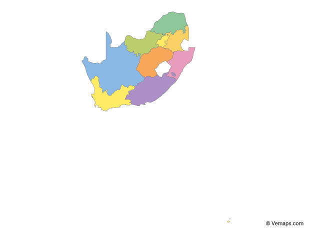 Multicolor Map of South Africa with Provinces