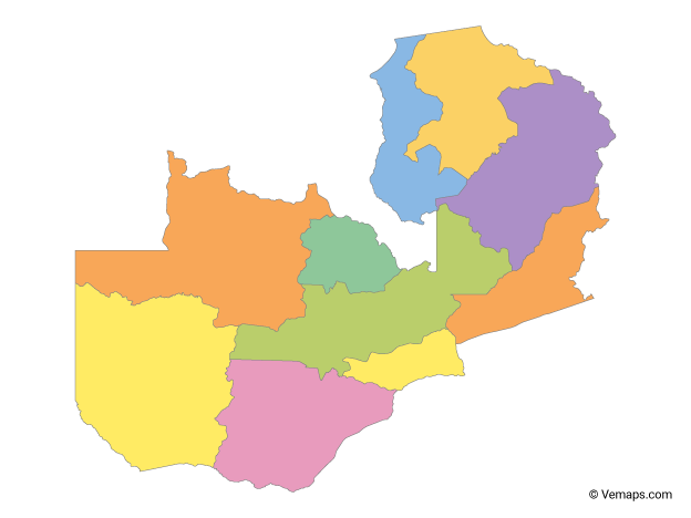 Multicolor Map of Zambia with Provinces   Free Vector Maps